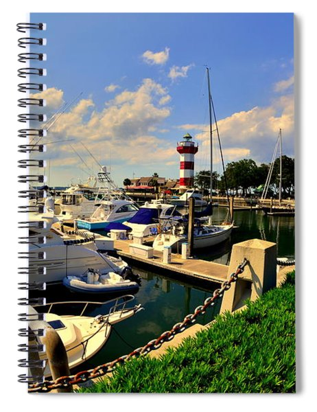 Harbour Town Marina Sea Pines Resort Hilton Head Sc Spiral Notebook by Lisa Wooten