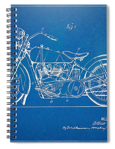Harley-davidson Motorcycle 1928 Patent Artwork Spiral Notebook