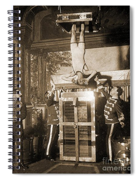 Harry Houdini Suspended Above A Tank Of Water  Spiral Notebook