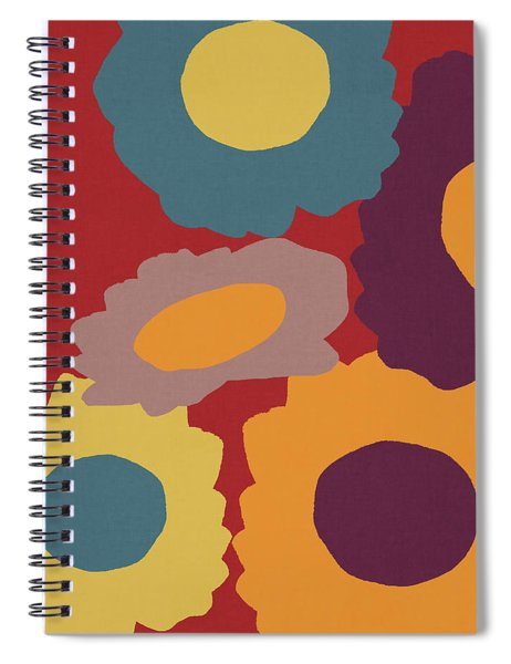 Harvest Flowers Red- Art By Linda Woods Spiral Notebook