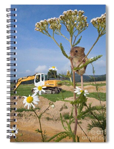 Harvest Mouse And Backhoe Spiral Notebook