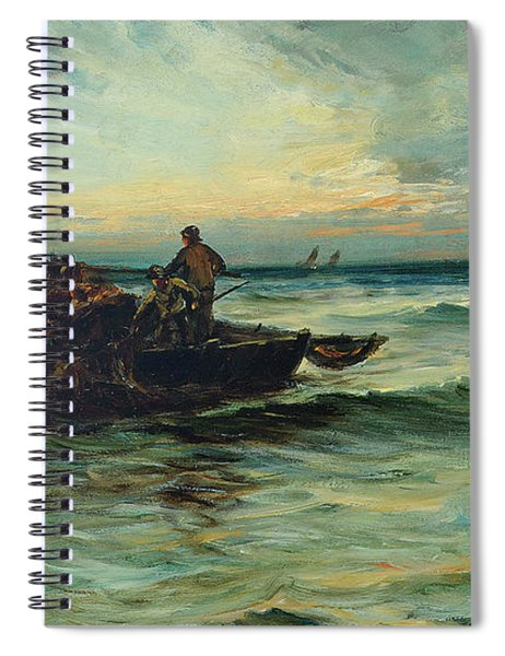 Hauling In The Nets At Sunset Spiral Notebook
