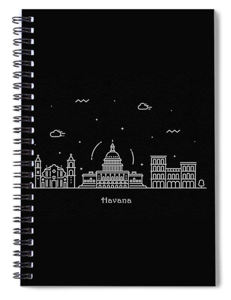 Havana Skyline Travel Poster Spiral Notebook
