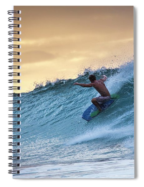 Hawaii Bodysurfing Sunset Polihali Beach Kauai  Spiral Notebook