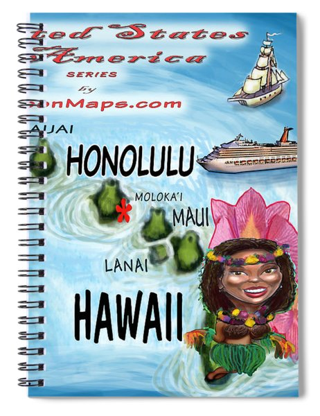Hawaii Fun Map Spiral Notebook
