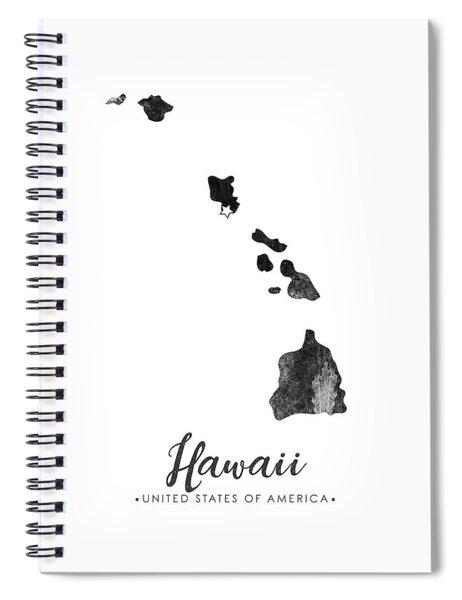 Hawaii State Map Art - Grunge Silhouette Spiral Notebook