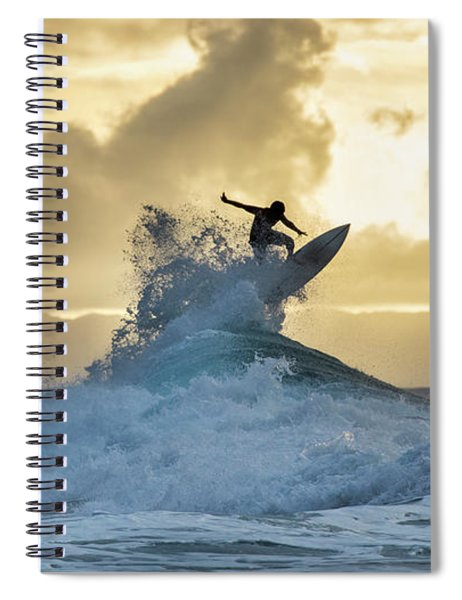 Hawaii Surfing Sunset Polihali Beach Kauai Spiral Notebook