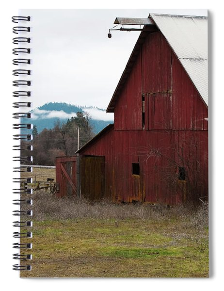 Spiral Notebook featuring the photograph Hayfork Red Barn by Lorraine Devon Wilke