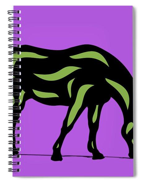 Hazel - Pop Art Horse - Black, Greenery, Purple Spiral Notebook