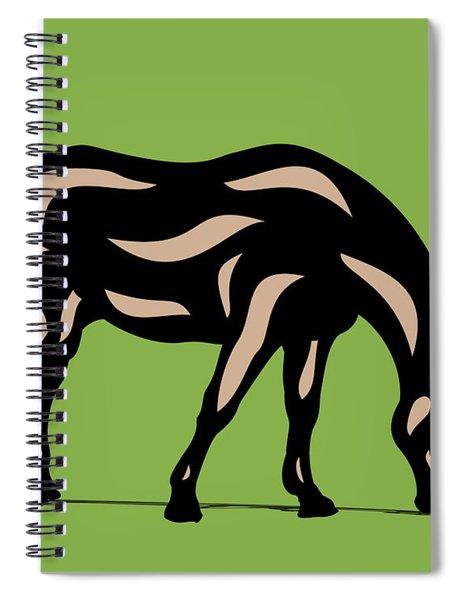 Spiral Notebook featuring the digital art Hazel - Pop Art Horse - Black, Hazelnut, Greenery by Manuel Sueess