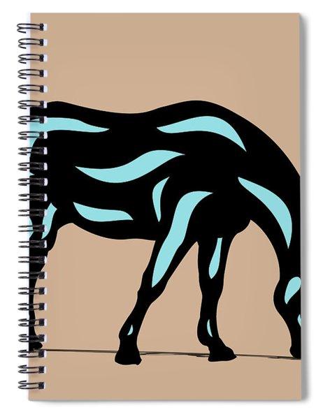 Spiral Notebook featuring the digital art Hazel - Pop Art Horse - Black, Island Paradise Blue, Hazelnut by Manuel Sueess
