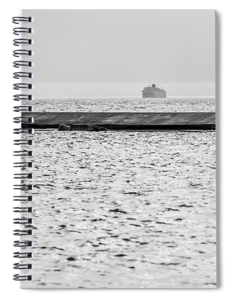 Hazy Car Ferry Coming Into Port At Ludington Spiral Notebook