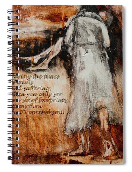 He Walks With Me - Footprints 2 Spiral Notebook
