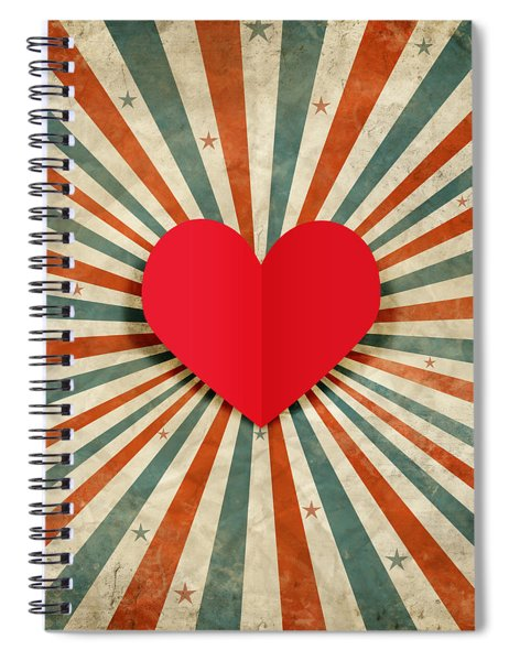 Heart With Ray Background Spiral Notebook