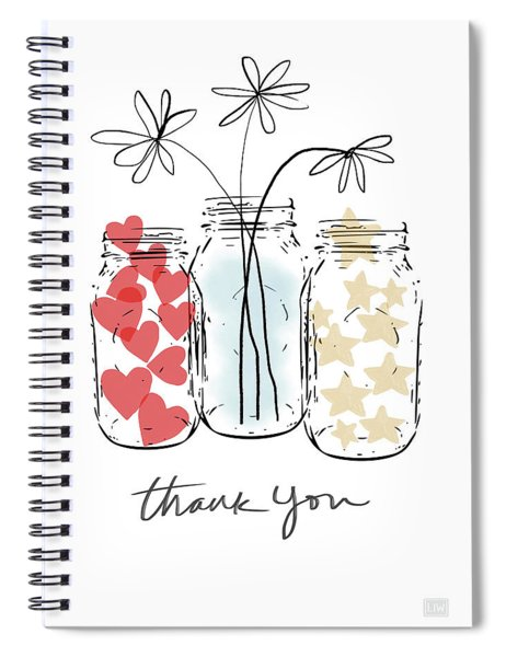 Hearts And Stars Thank You- Art By Linda Woods Spiral Notebook