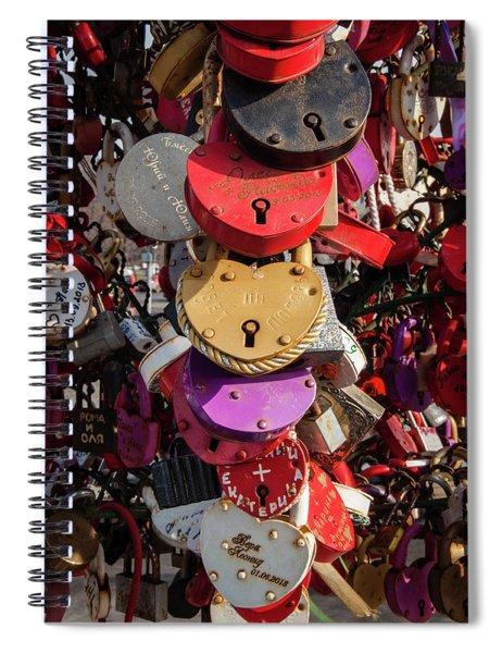 Hearts Locked In Love Spiral Notebook