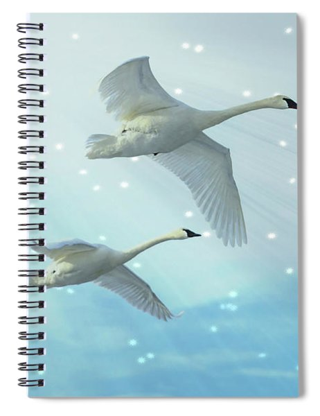 Heavenly Swan Flight Spiral Notebook