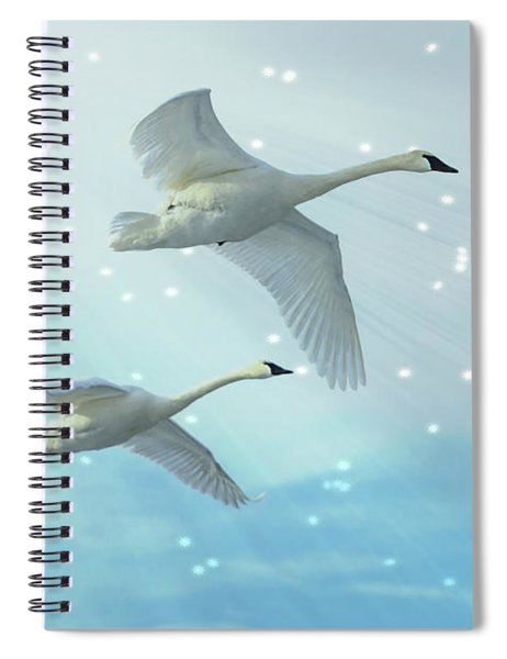 Spiral Notebook featuring the photograph Heavenly Swan Flight by Patti Deters