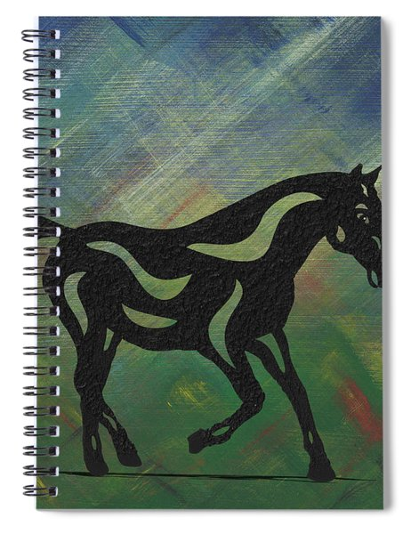 Spiral Notebook featuring the painting Heinrich - Abstract Horse by Manuel Sueess