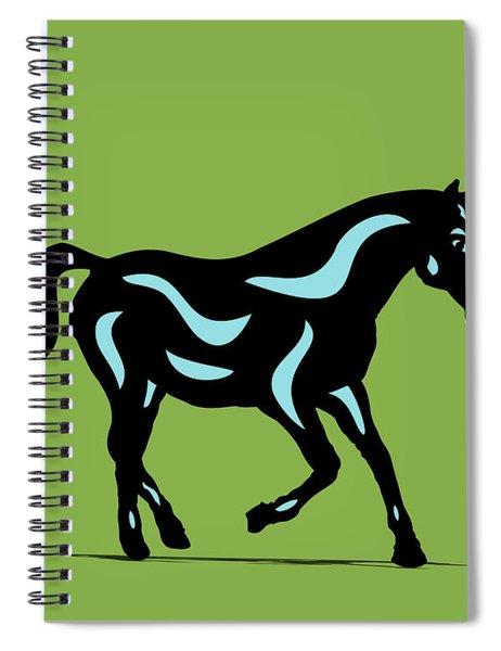 Spiral Notebook featuring the digital art Heinrich - Pop Art Horse - Black, Island Paradise Blue, Greenery by Manuel Sueess