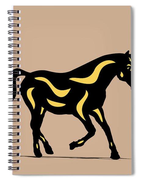 Heinrich - Pop Art Horse - Black, Primrose Yellow, Hazelnut Spiral Notebook