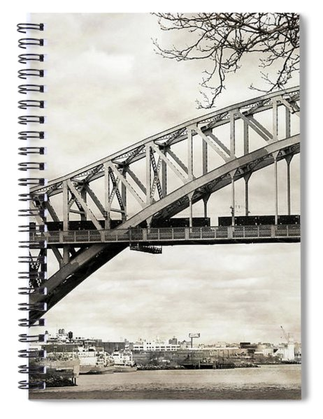 Hellgate Bridge In Sepia Spiral Notebook