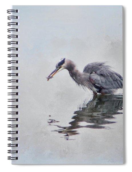 Heron Fishing  - Textured Spiral Notebook