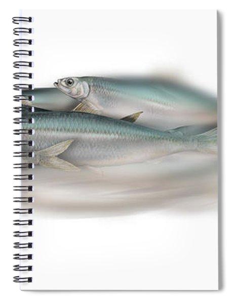 Herring School Of Fish - Clupea - Nautical Art - Seafood Art - Marine Art - Game Fish Spiral Notebook