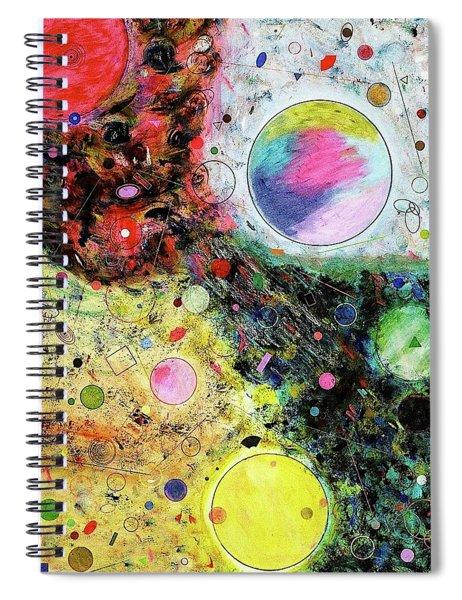 Spiral Notebook featuring the mixed media Hidden Aliens by Michael Lucarelli