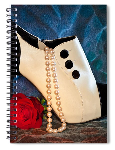 Spiral Notebook featuring the photograph High Heel Spat Bootie Shoe by Patti Deters