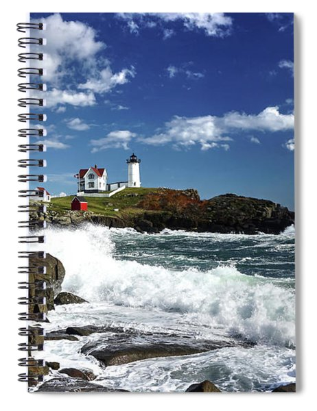 High Surf At Nubble Light Spiral Notebook