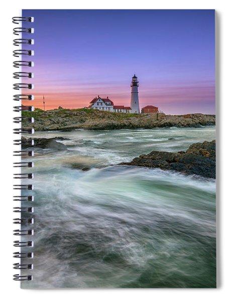 High Tide At Portland Head Lighthouse Spiral Notebook