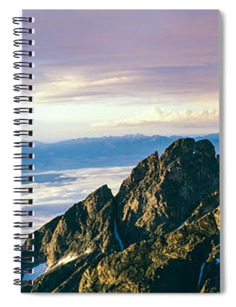 Hiker At Cliff, Jackson Hole, Grand Spiral Notebook