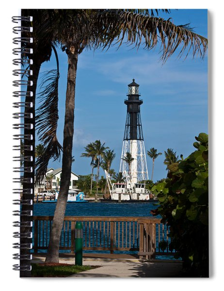 Spiral Notebook featuring the photograph Hillsboro Inlet Lighthouse And Park by Ed Gleichman