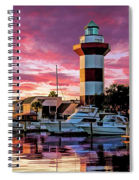 Hilton Head Harbour Town Lighthouse Spiral Notebook by Christopher Arndt