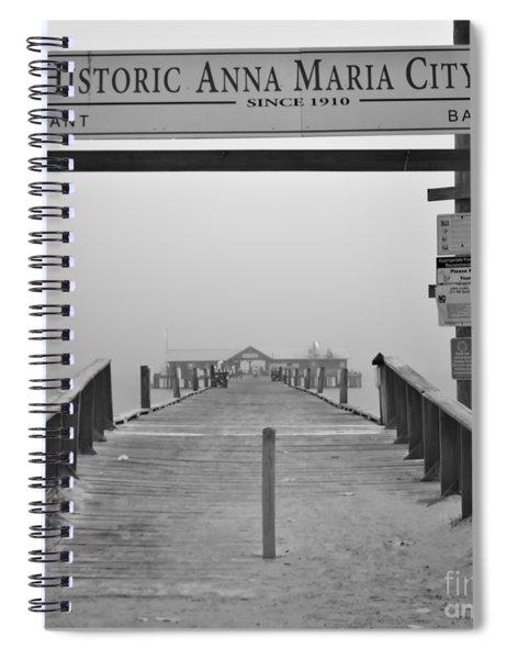 Historic Anna Maria City Pier In Fog Infrared 52 Spiral Notebook