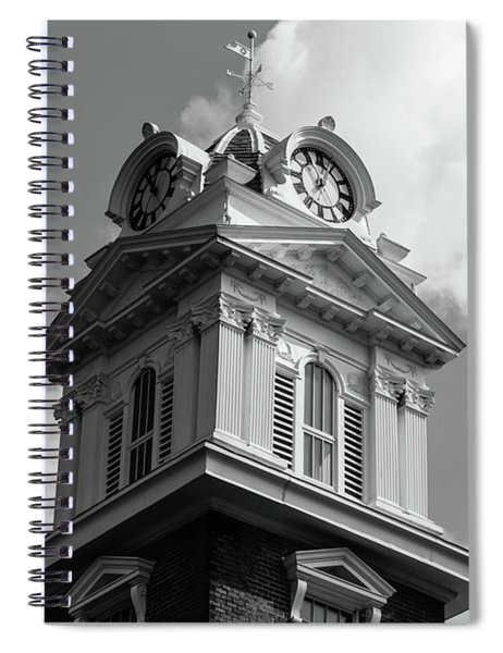 Spiral Notebook featuring the photograph Historic Courthouse Steeple In Bw by Doug Camara