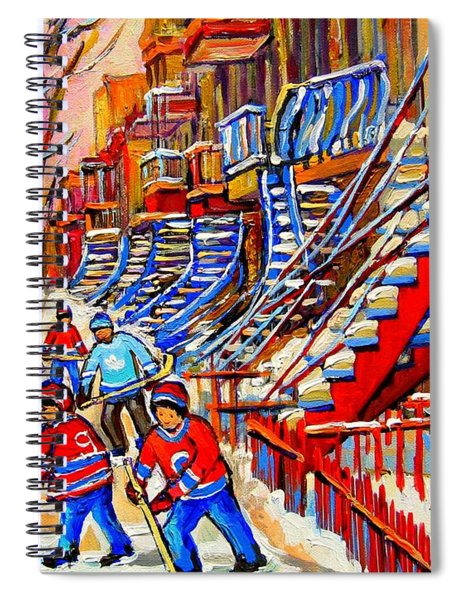 Hockey Game Near The Red Staircase Spiral Notebook