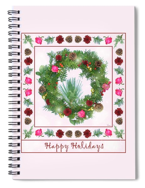 Holiday Wreath With Roses And Carnations Spiral Notebook