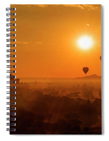 Holy Temple And Hot Air Balloons At Sunrise Spiral Notebook by Pradeep Raja PRINTS