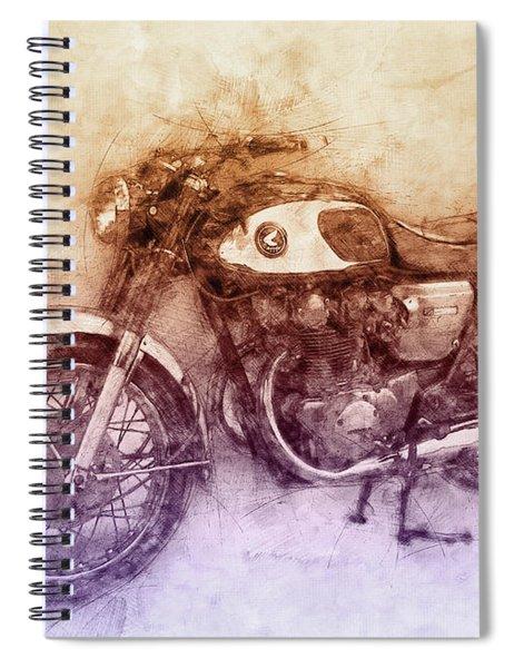 Honda Cb77 - Honda Motorcycles 2 - Motorcycle Poster - Automotive Art Spiral Notebook