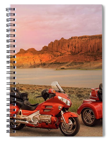 Spiral Notebook featuring the photograph Honda Goldwing Bike Trike And Trailer by Patti Deters