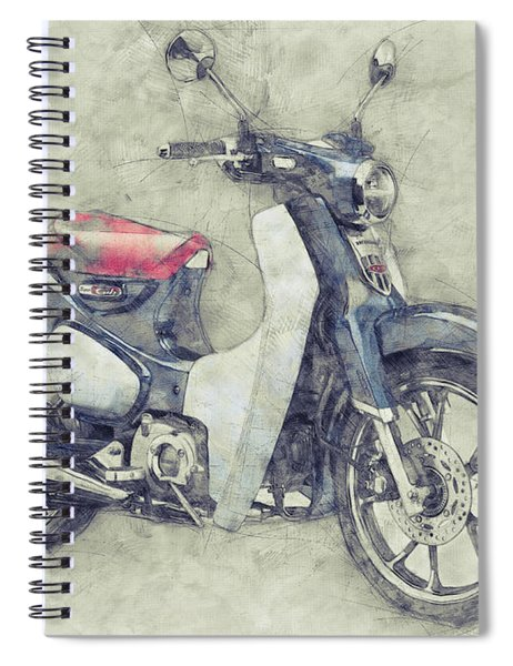 Honda Super Cub 1 - Motor Scooters - 1958 - Motorcycle Poster - Automotive Art Spiral Notebook