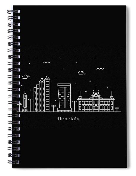 Honolulu Skyline Travel Poster Spiral Notebook