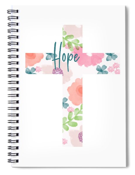 Hope Floral Cross- Art By Linda Woods Spiral Notebook