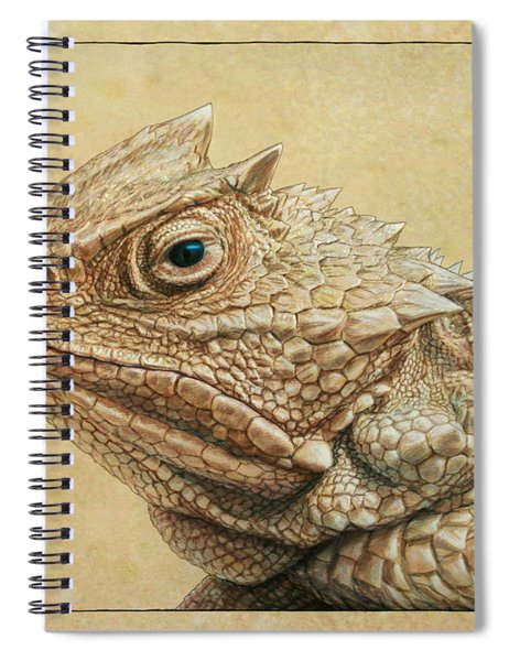 Spiral Notebook featuring the painting Horned Toad by James W Johnson