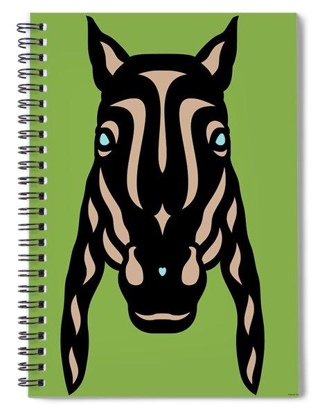 Spiral Notebook featuring the digital art Horse Face Rick - Horse Pop Art - Greenery, Hazelnut, Island Paradise Blue by Manuel Sueess