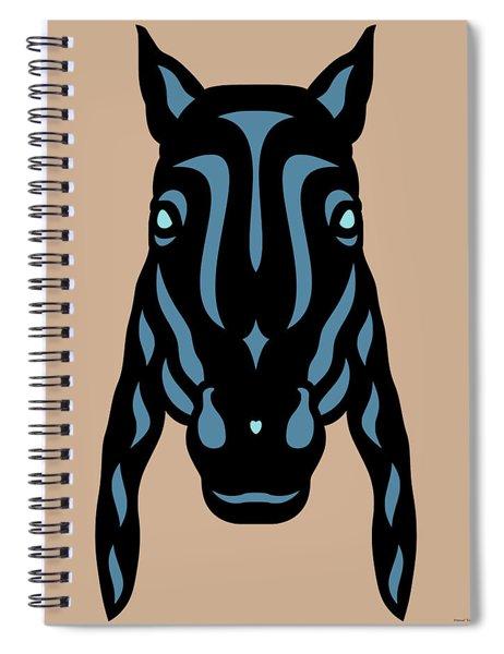 Spiral Notebook featuring the digital art Horse Face Rick - Horse Pop Art - Hazelnut, Niagara Blue, Island Paradise Blue by Manuel Sueess
