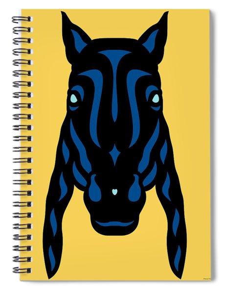 Horse Face Rick - Horse Pop Art - Primrose Yellow, Lapis Blue, Island Paradise Blue Spiral Notebook