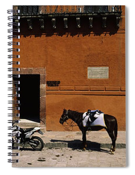 Horse Standing Between Two Motorcycles Spiral Notebook